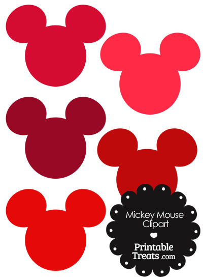 Mickey mouse head clipart in shades of red printable treats
