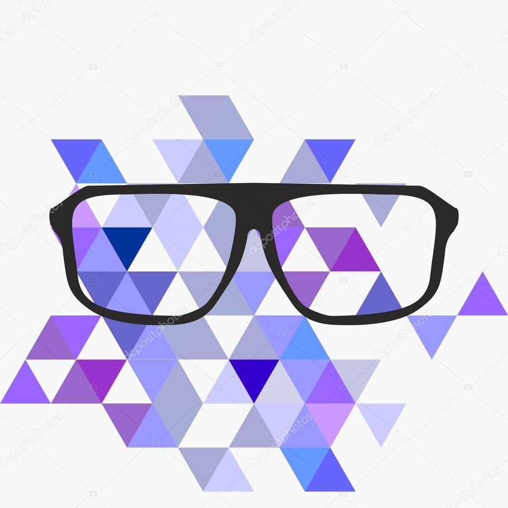 Nerd glasses on grey background with triangle flat surface mosaic clip art