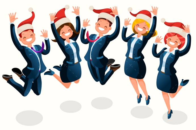 Office christmas party isometric people cartoon image illustration clipart
