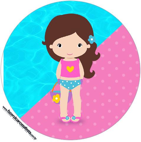 Pool party meninas festa na piscina personalizados clip art