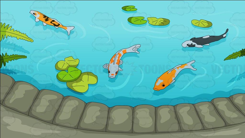 Pretty koi pond background cartoon clipart vector toons