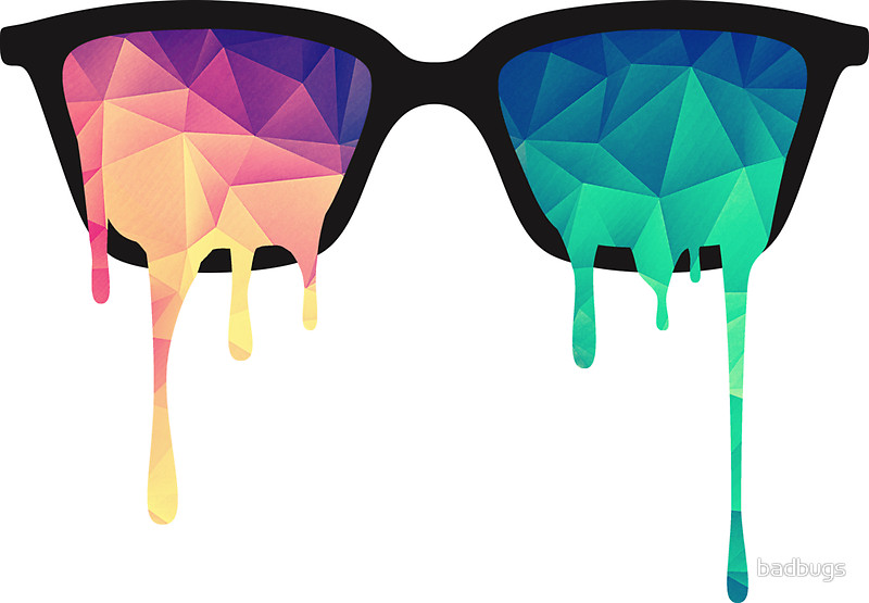 Psychedelic nerd glasses with melting lsd trippy color triangles clipart