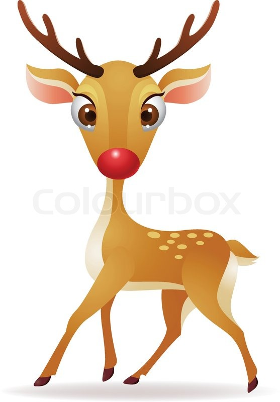 Rudolph the red nosed reindeer stock vector colour clipart