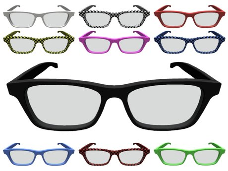 Second life marketplace mesh nerd glasses in several colors clip art