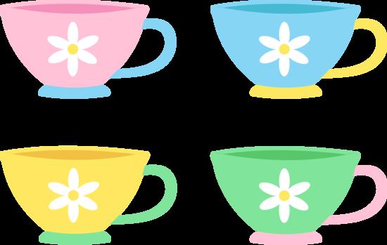 Set of four cute pastel tea cups free clip art