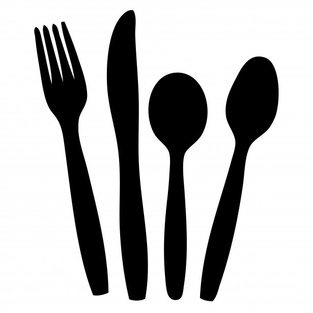 Silverware cutlery clipart black and white