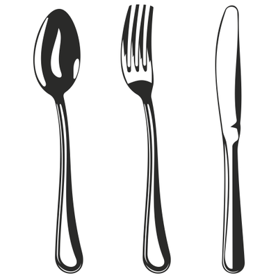 Silverware fork clipart black and white pencil in color fork