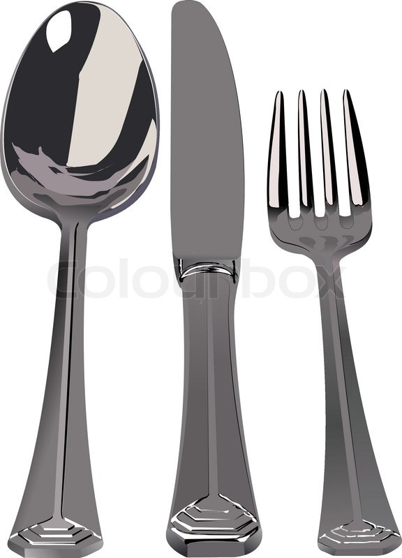 Silverware silver set of spoon knife fork vector illustration stock clip art