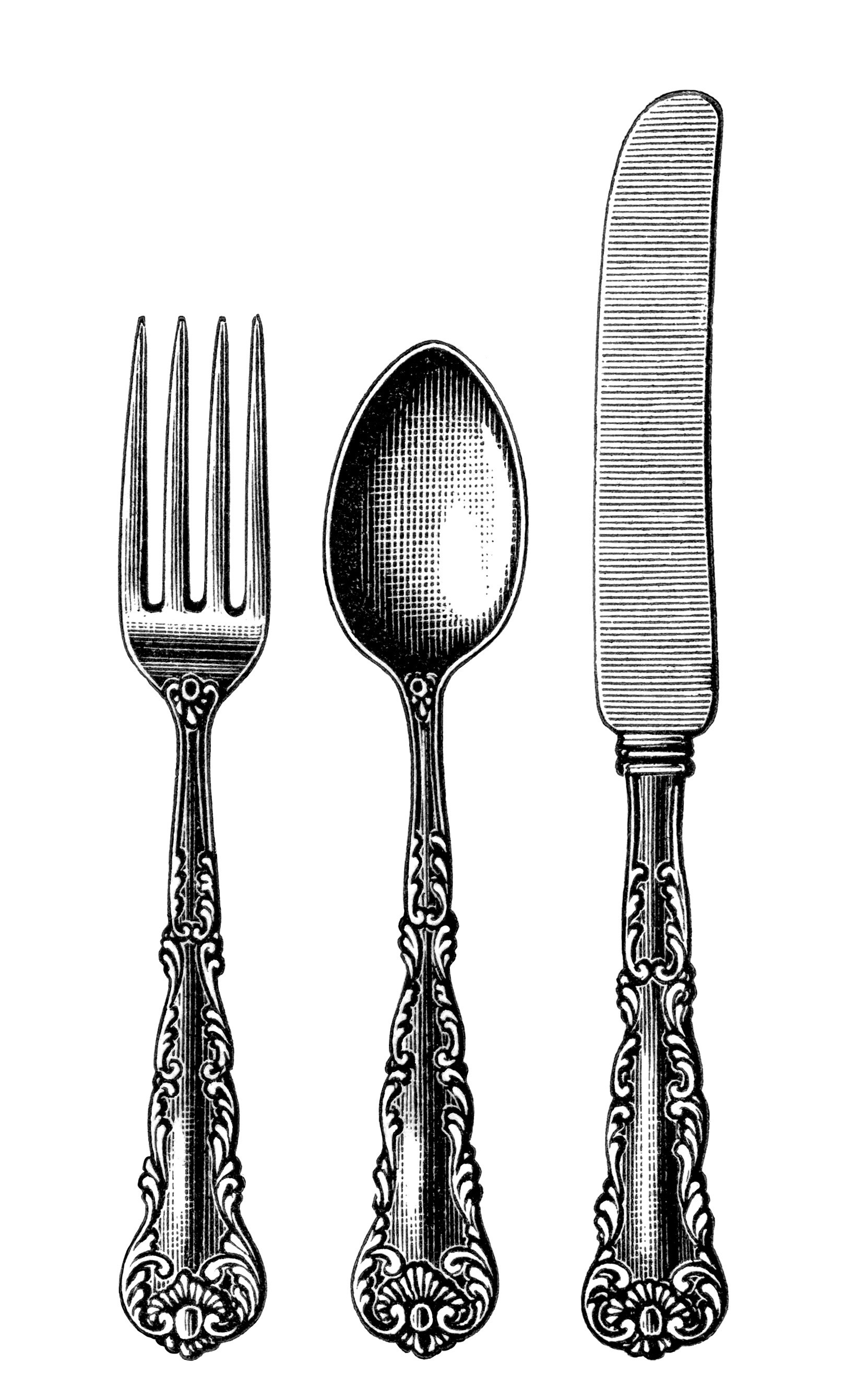 Silverware vintage cutlery clipart black and white clip art old fashioned