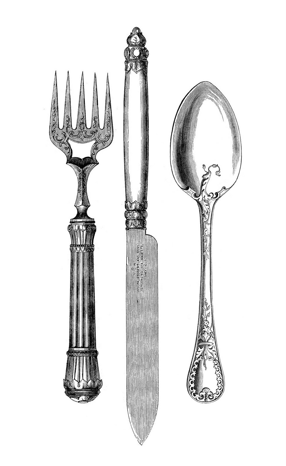 Silverware vintage kitchen clip art fork knife spoon the graphics fairy