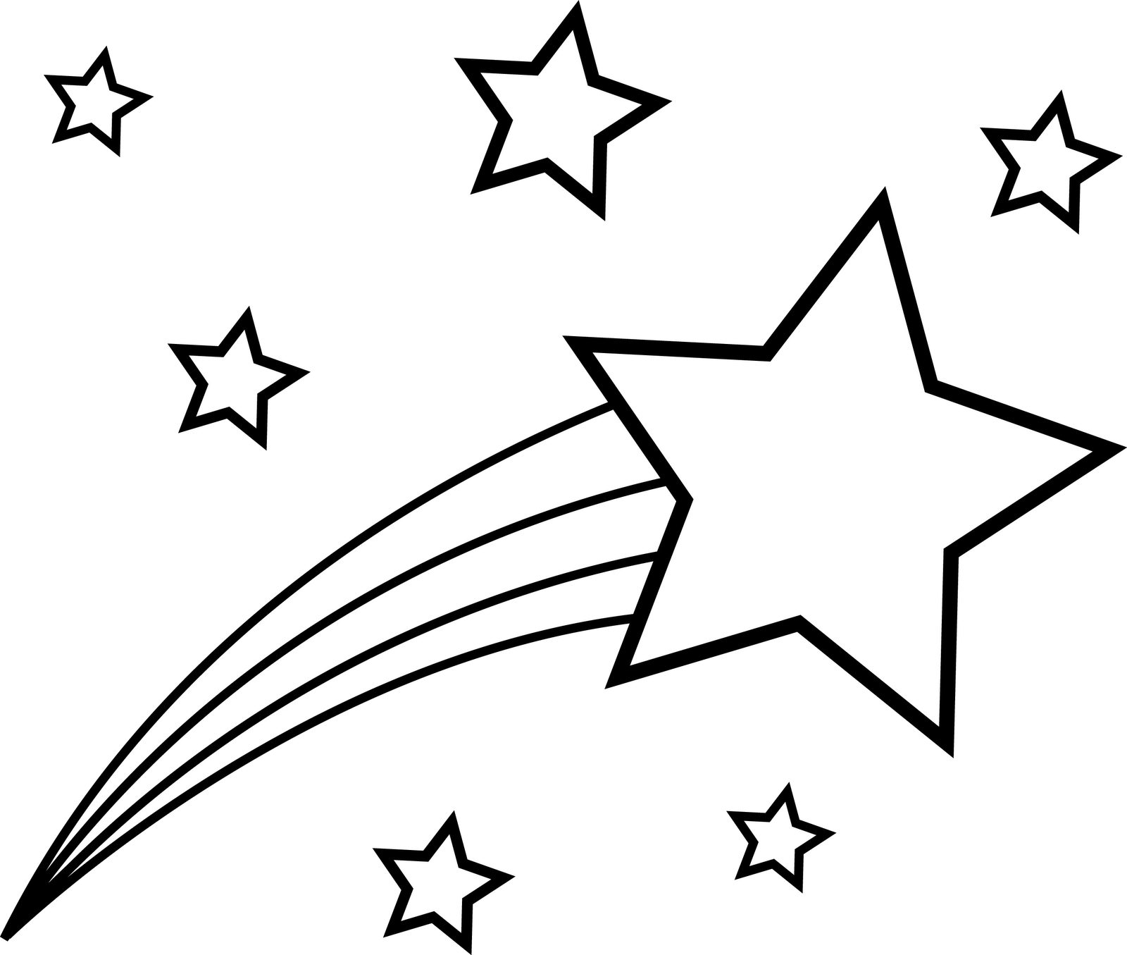 Star  black and white shooting star clipart