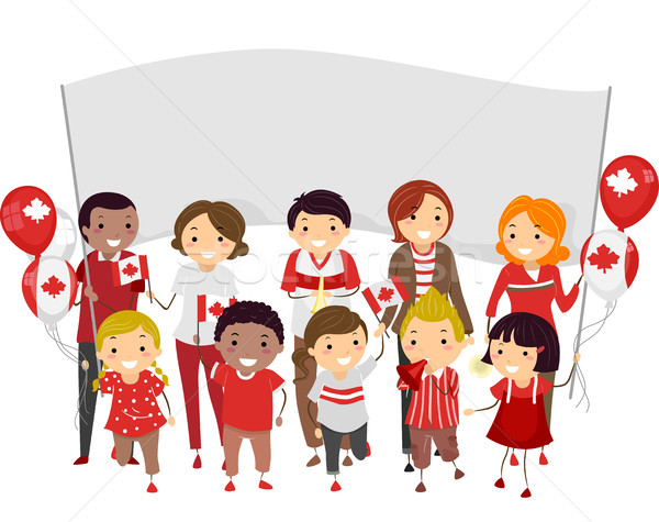 Stickman people canada day parade vector illustration lenm clip art