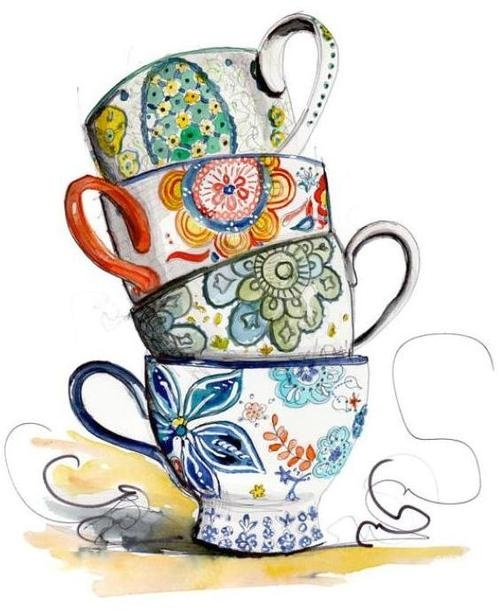 Tea cup border clip art cups attack