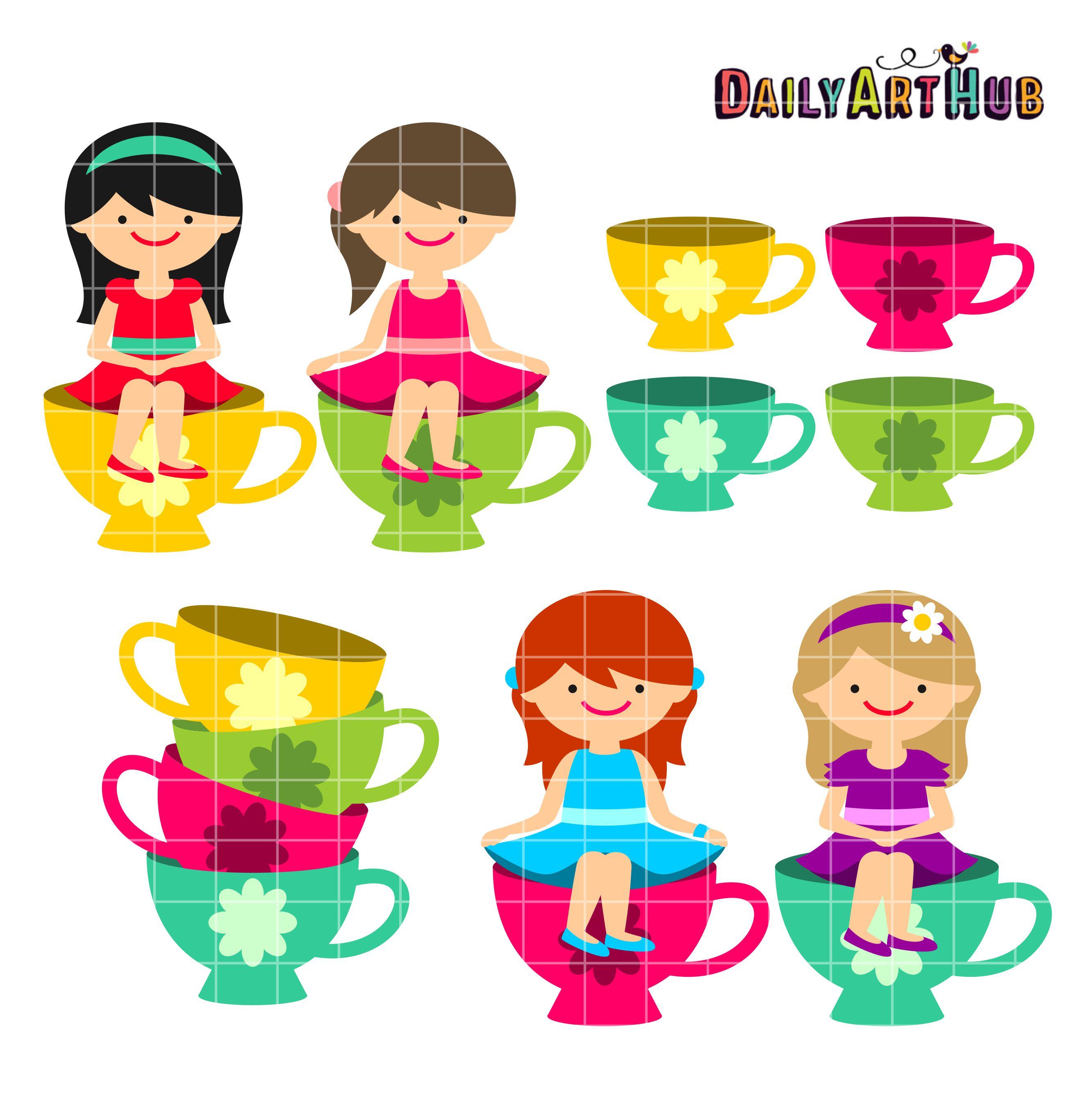 Tea cup girls clip art set daily hub