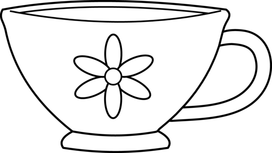 Tea cup teacup clipart black and white free image
