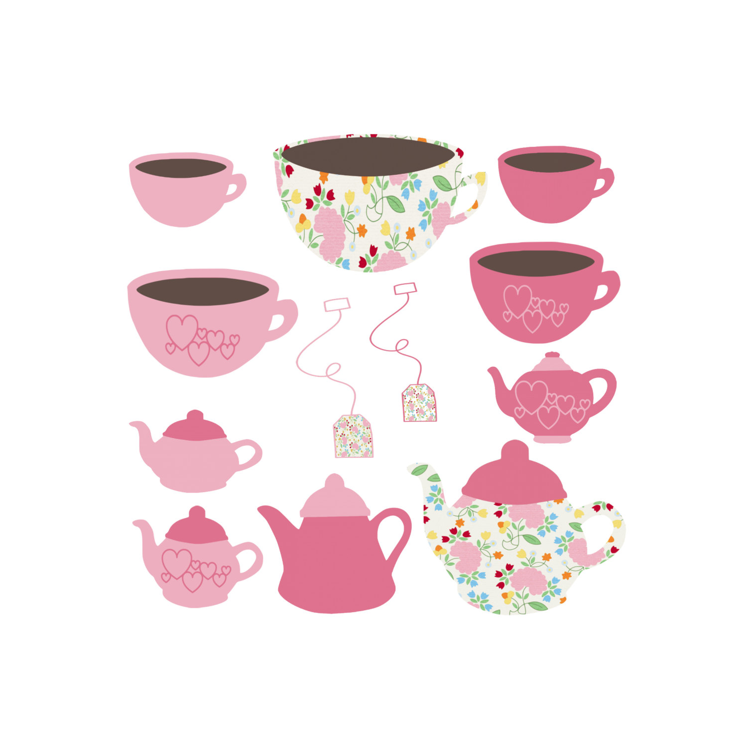 Tea cup teapot and cup set clipart