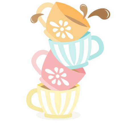 Tea cups stacked svg cutting files for scrapbooking cute clipart