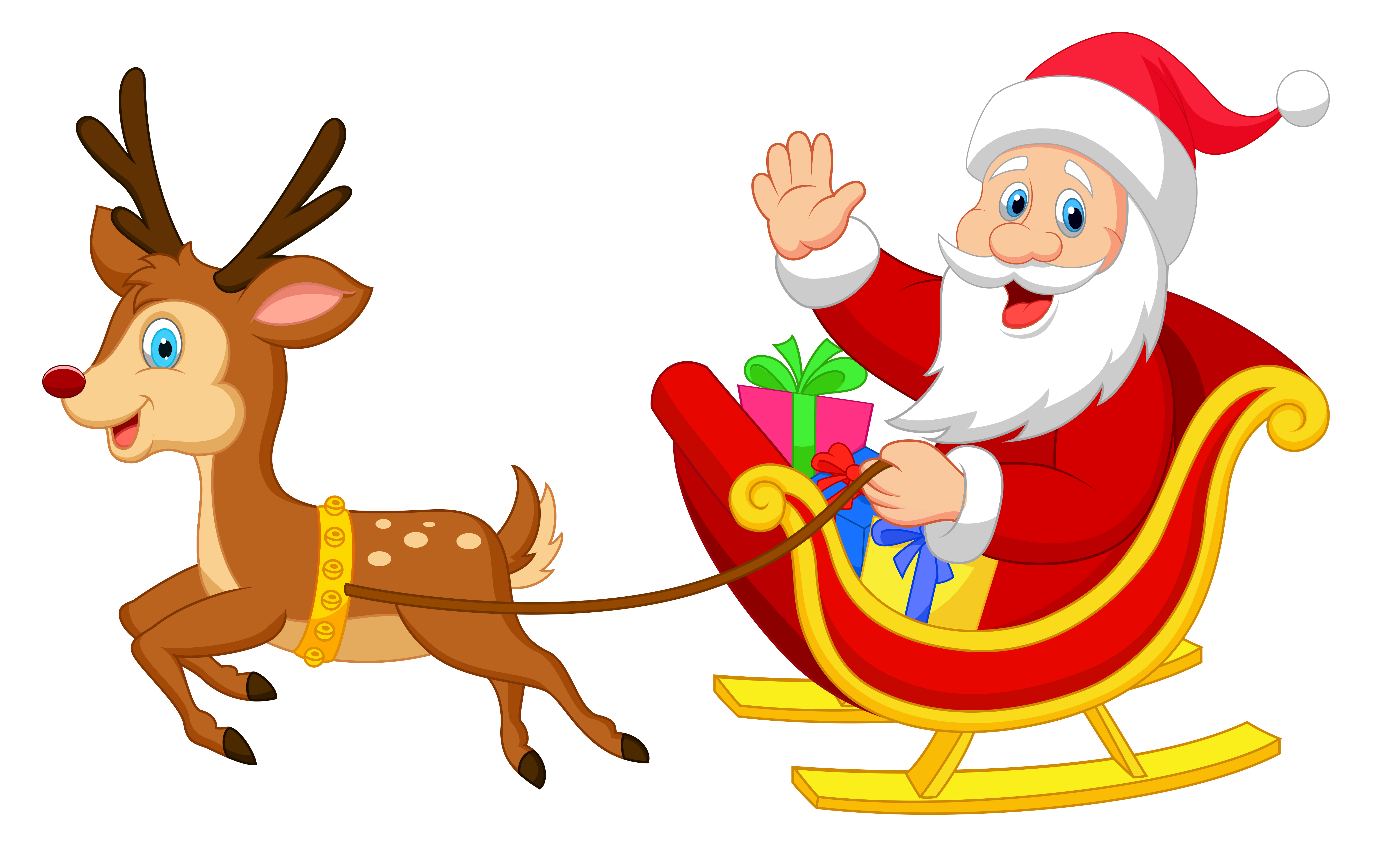 Transparent santa with rudolph clipart