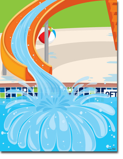 Water slide pool slide clipart free