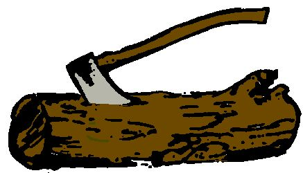 Wood badge ax and log clipart