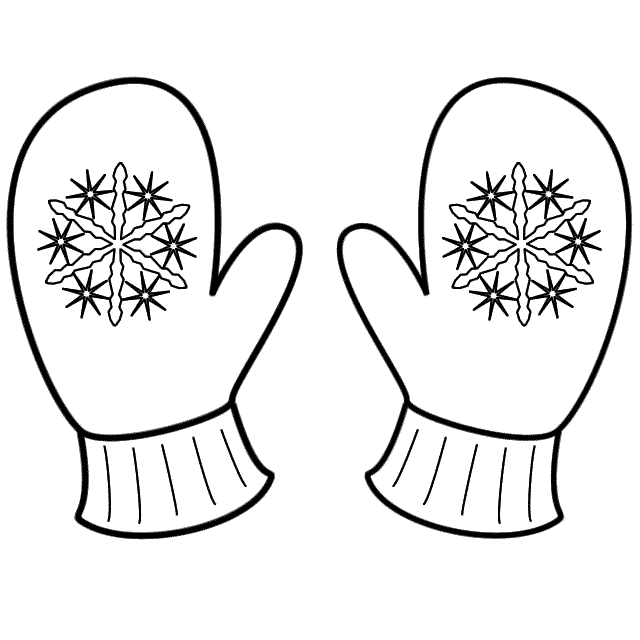 Coloring page hivern mittens sunday school and album clip art