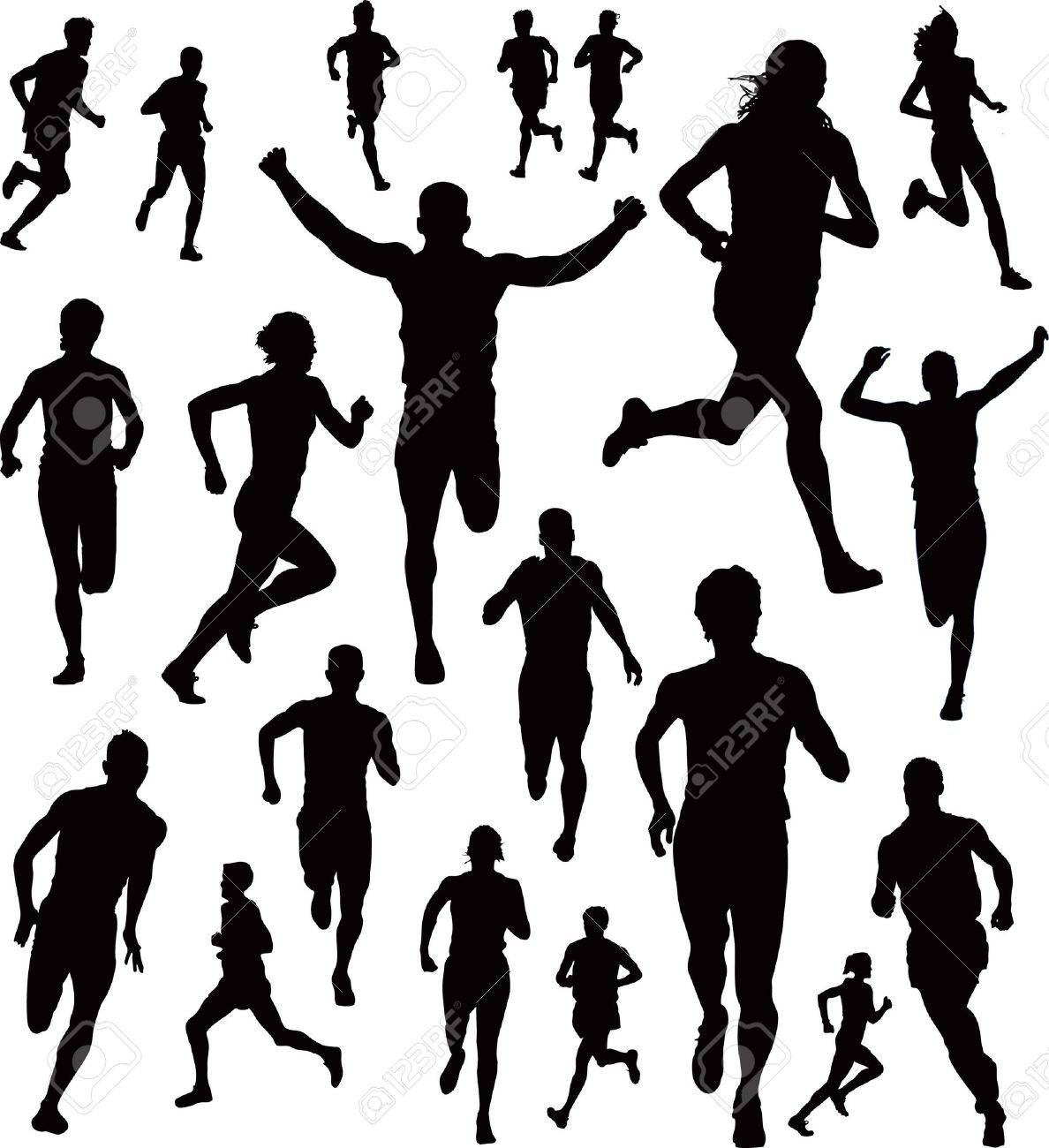 Cross country running clipart black and white images free ...