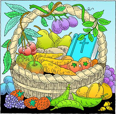 Image bible in basket of harvest revelation clip art