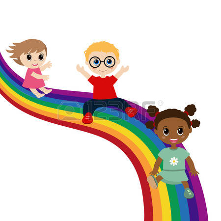 Rainbow clipart slide pencil and in color rainbow