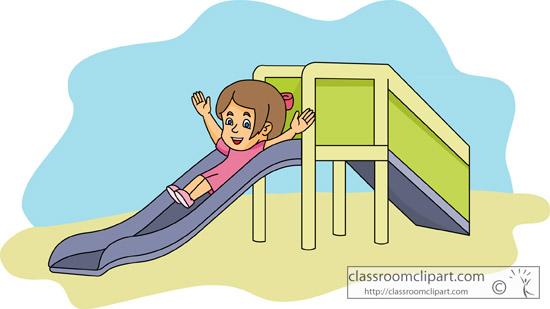 Recreation clipart girl going down playground slide