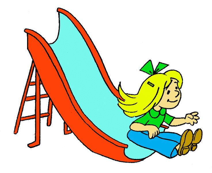 Sliding down a slide clipart