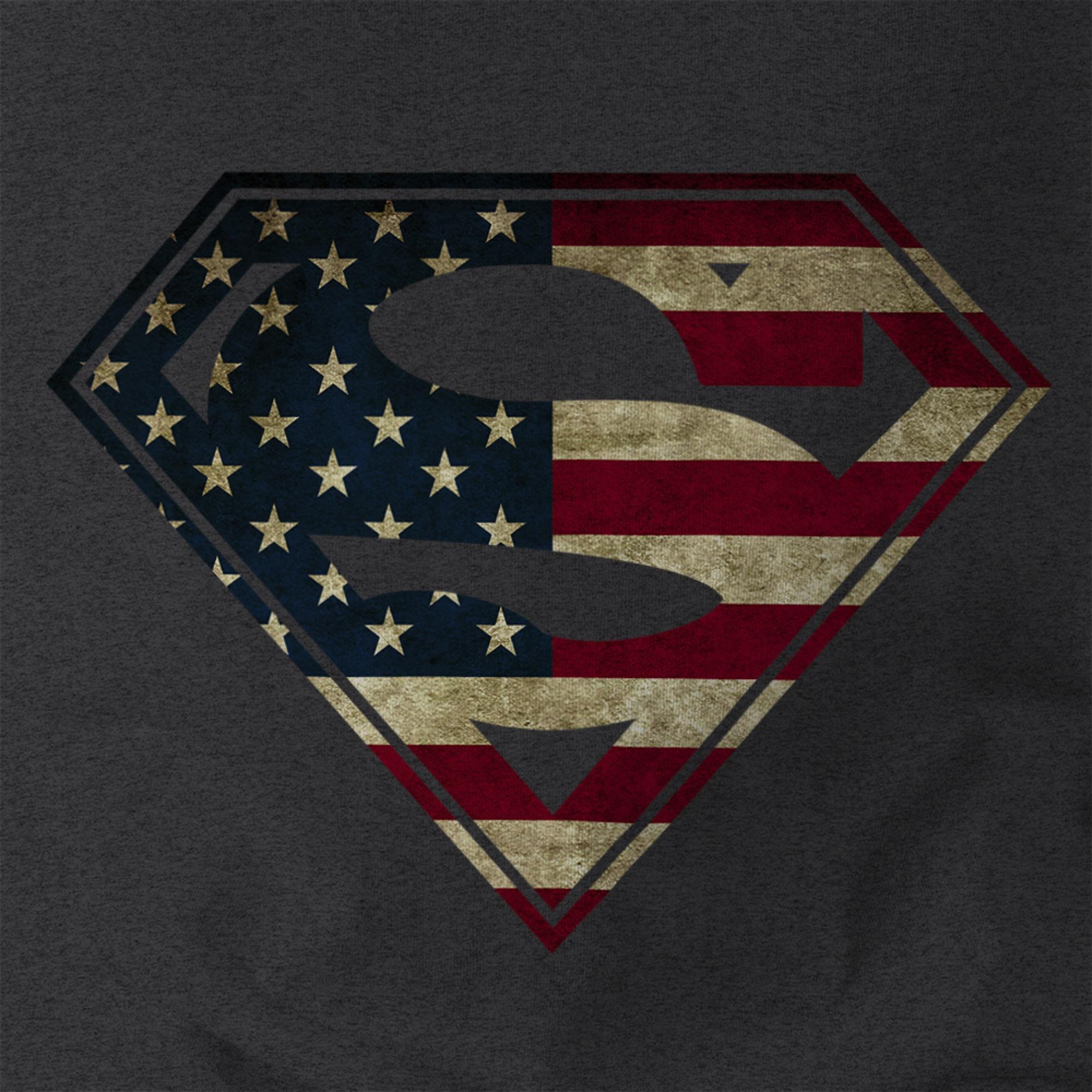 American flag superman logo shield mens shirt patriotic usa dc