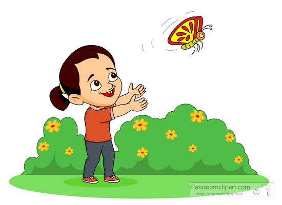 Animal clipart butterfly happy little girl trying to