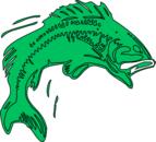 Bass fish green clip art at vector clip art