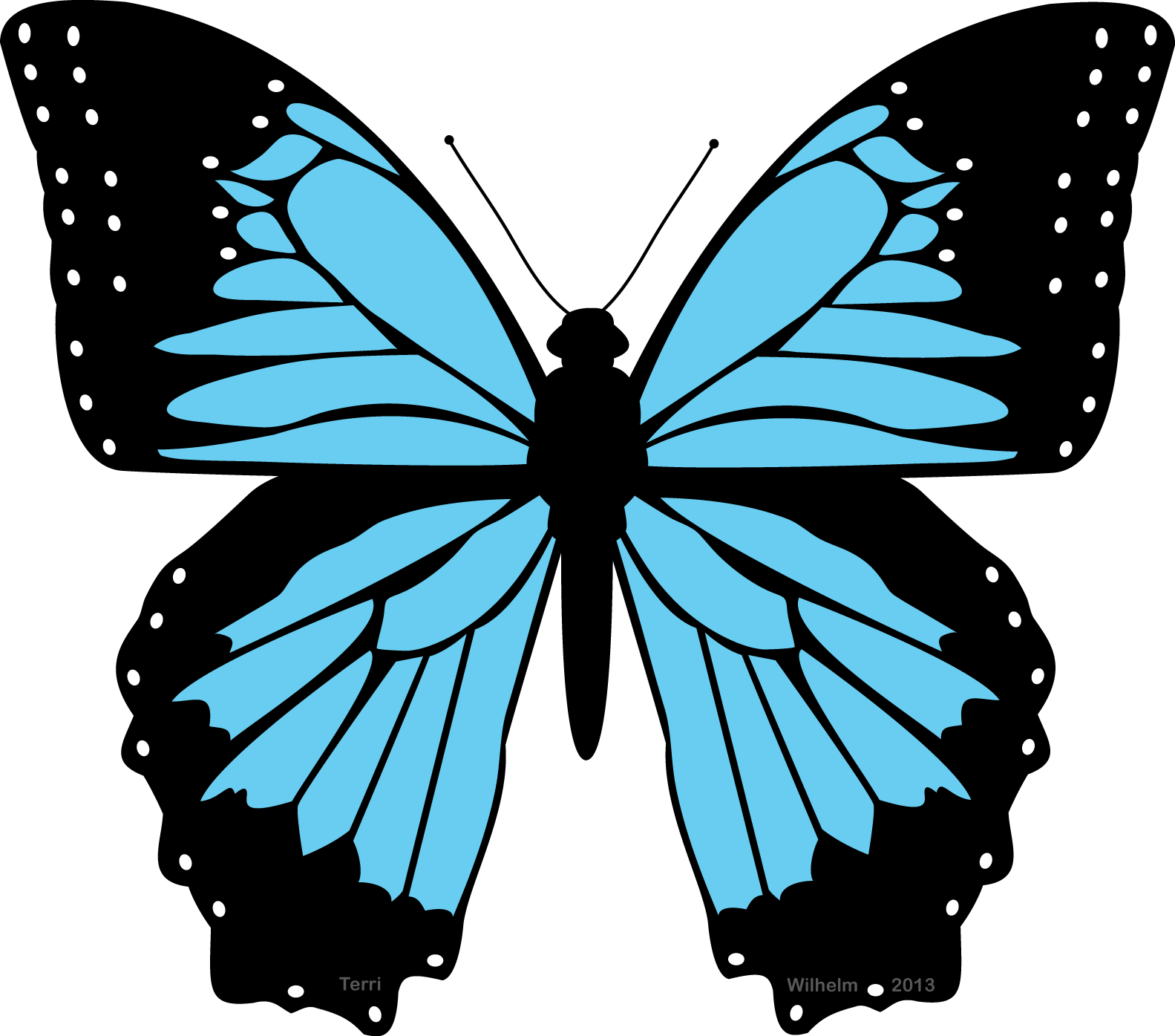 Black and blue butterfly clipart the cliparts