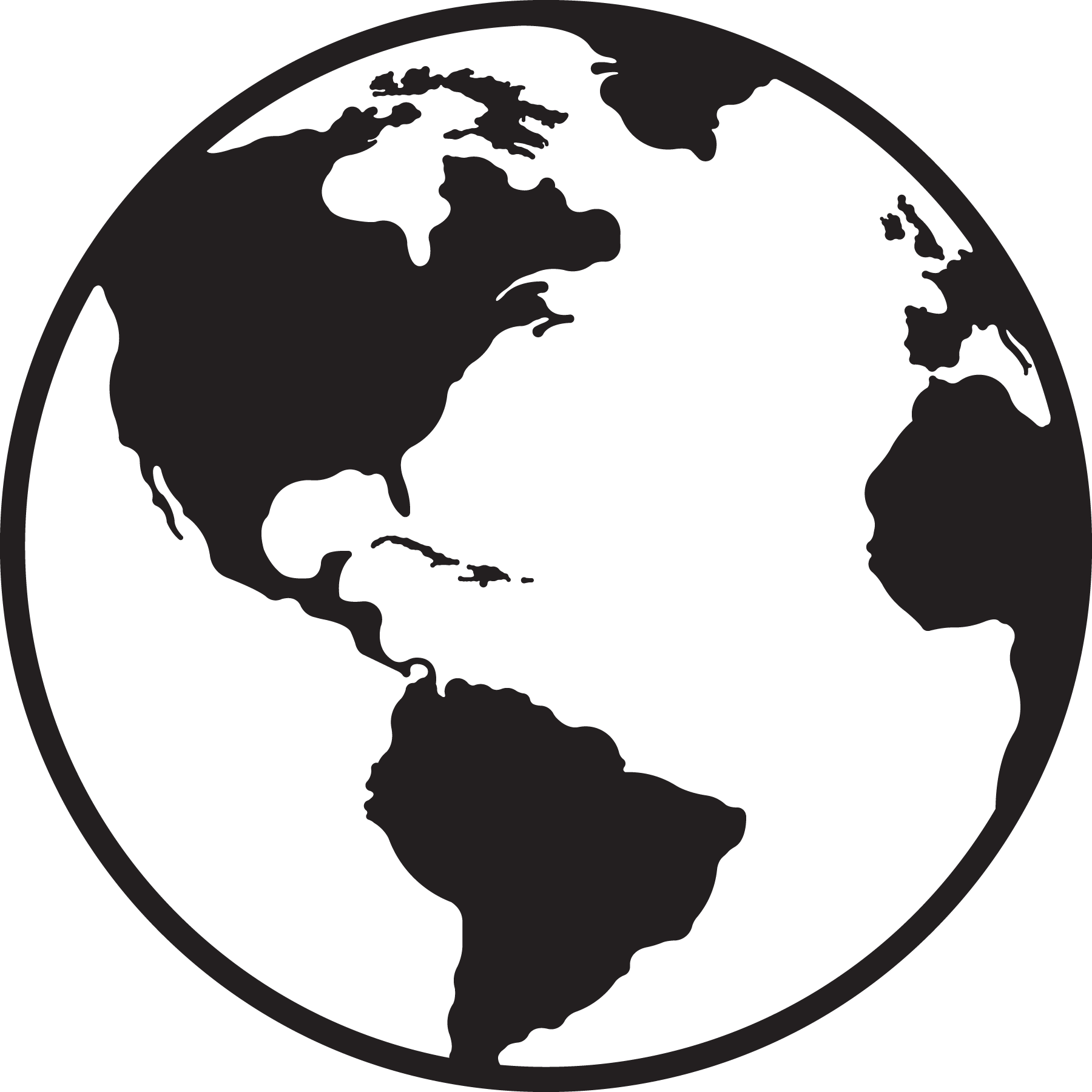 Black and white globe clipart clipground