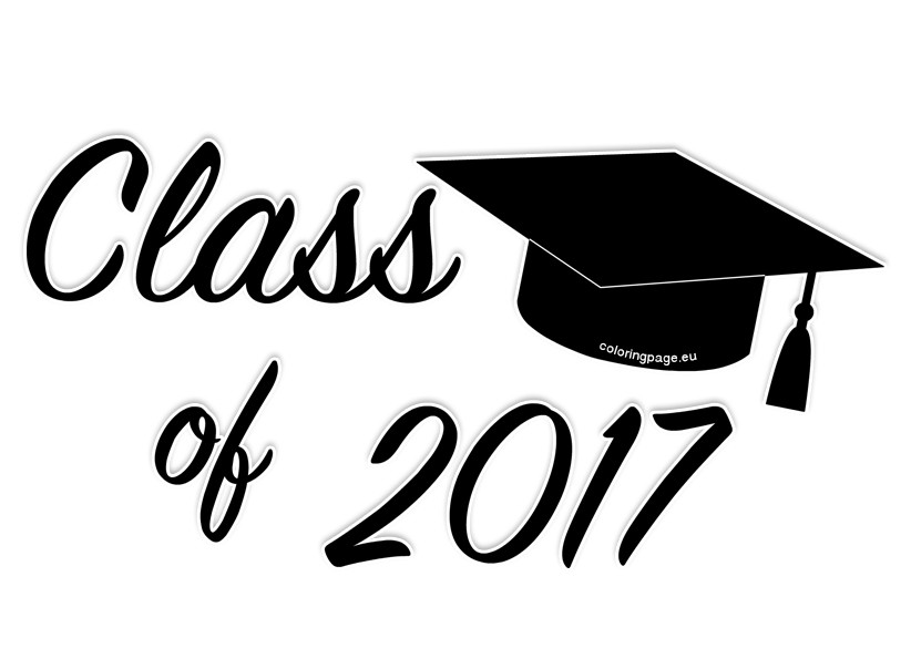 Black class of 7 graduation clip art coloring page