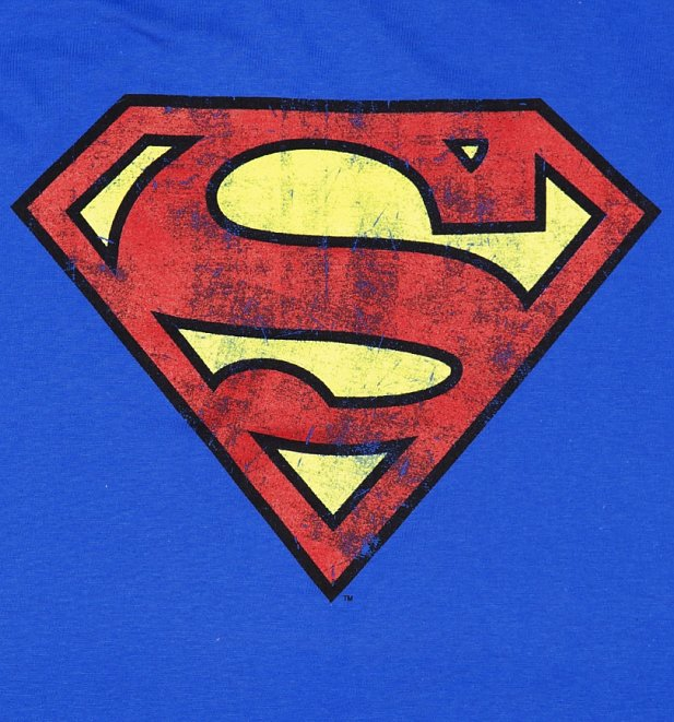 Blue distressed superman logo shirt