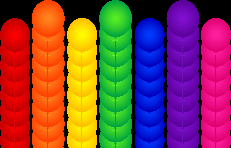Celebration seven rainbow birthday party balloons free clip art