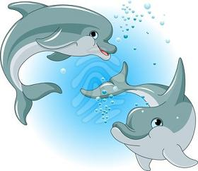 Clipart picture of two happy dolphins pesci