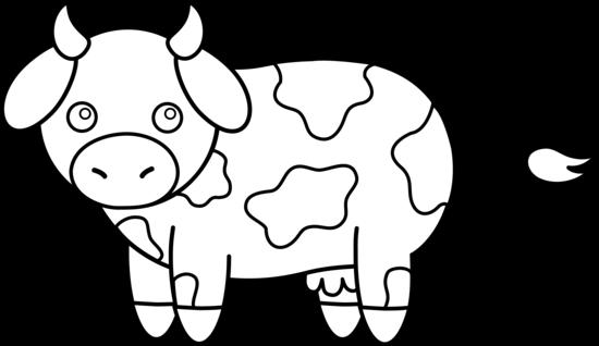 Colorable little cow free clip art