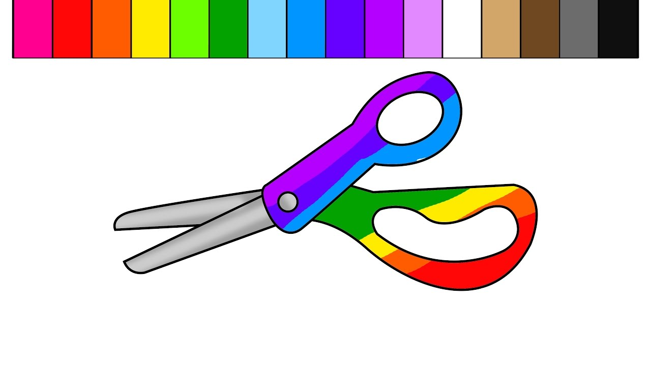 Colouful clipart scissors pencil and in color colouful