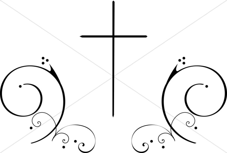 Cross and scrolls clipart
