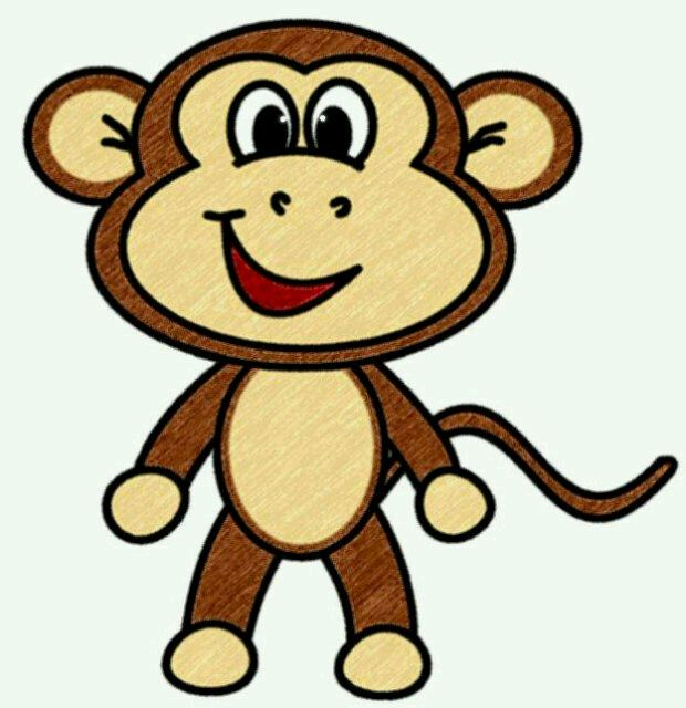 Drawing cute monkey clipart the cliparts