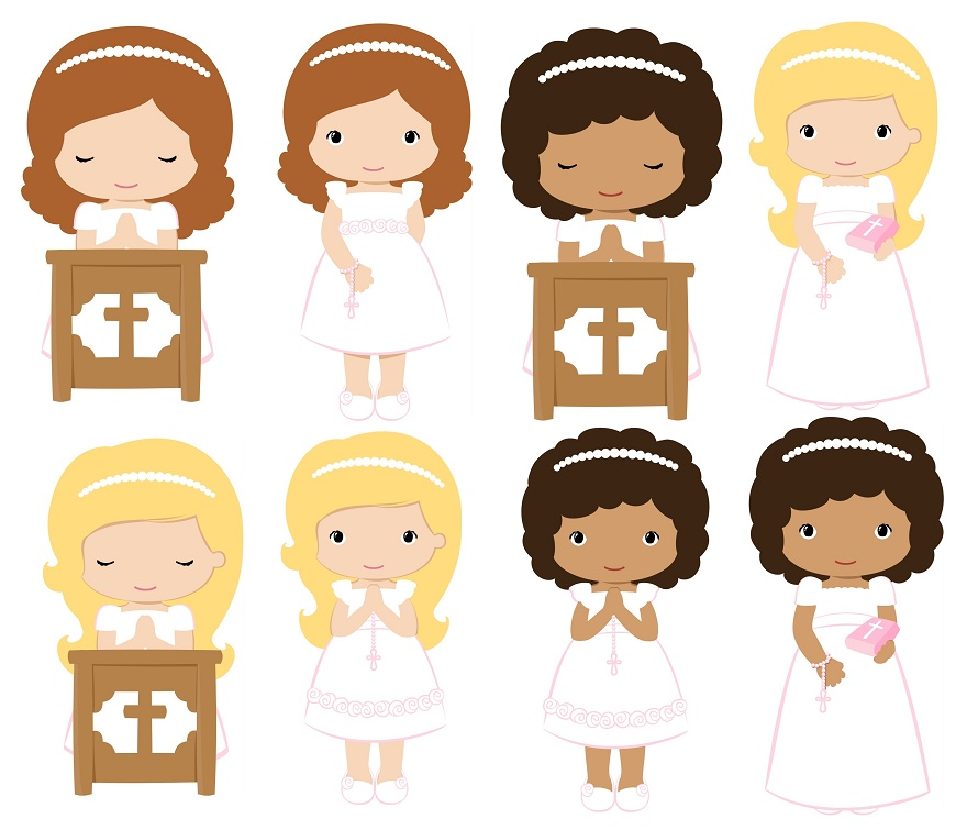 First communion girls in their firstmunion clip art oh my