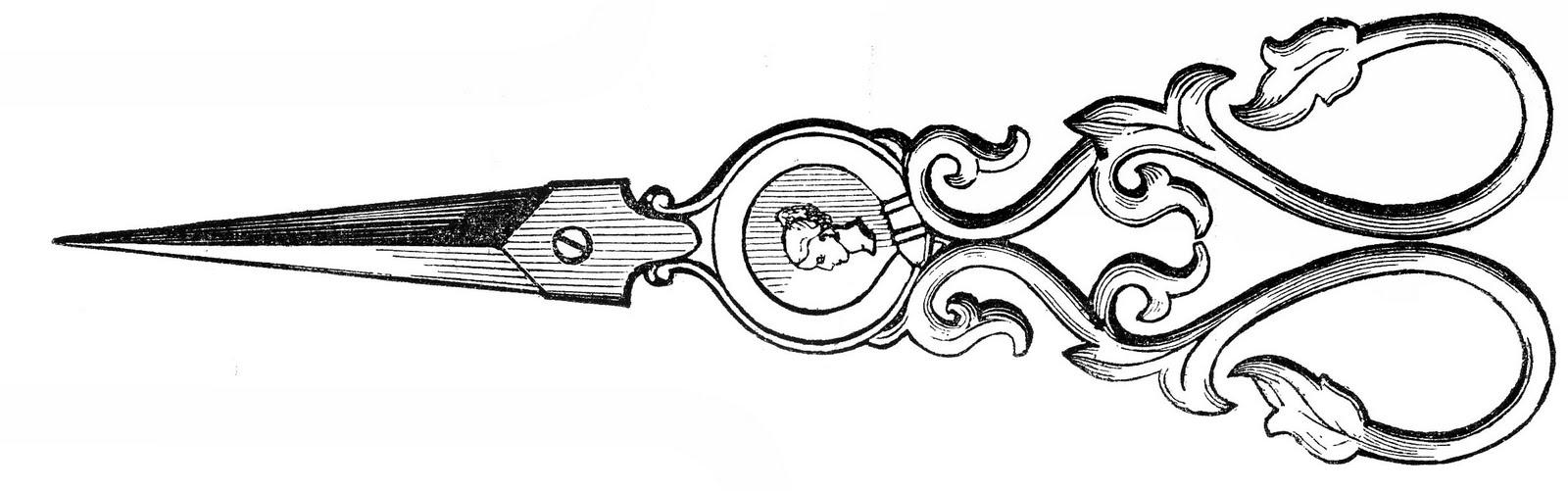 Free vintage clip art ladies ornate sewing scissors the