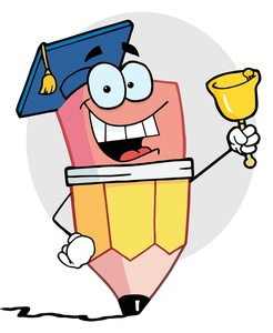 Graduation graduate clipart image a grinning pencil with a bell and