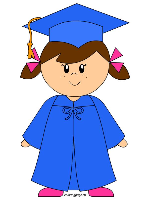 Graduation kindergarten graduate girl clip art loring page