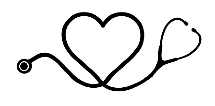 Heart stethoscope sticker vectec vinyl inc clipart