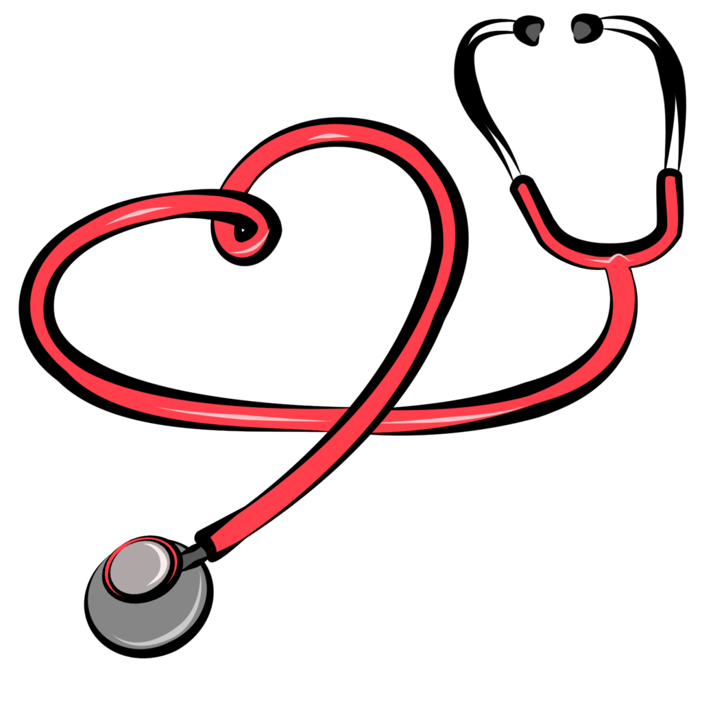 Heart with stethoscope clipart