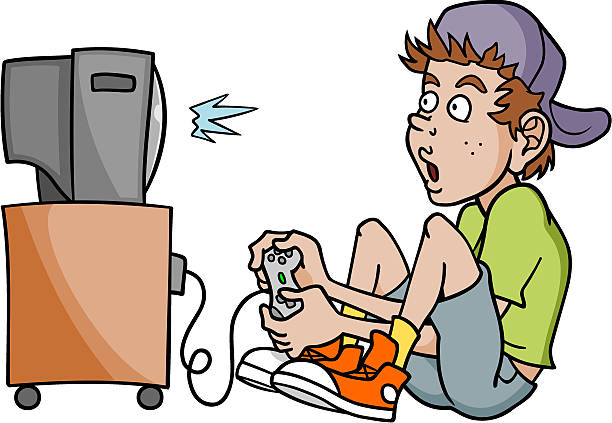 Kid playing video games clipart